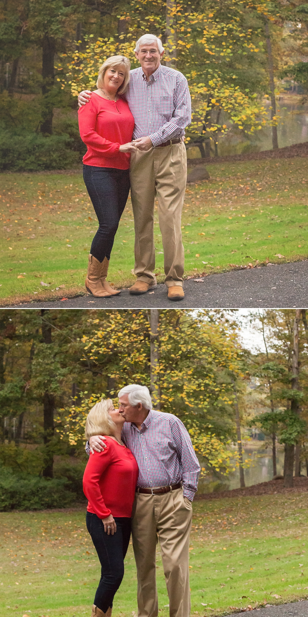Sanford NC grandparents kiss for family photo.