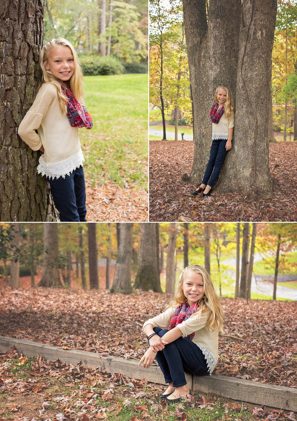 Girl stands with tree in Sandord NC for family photography session.