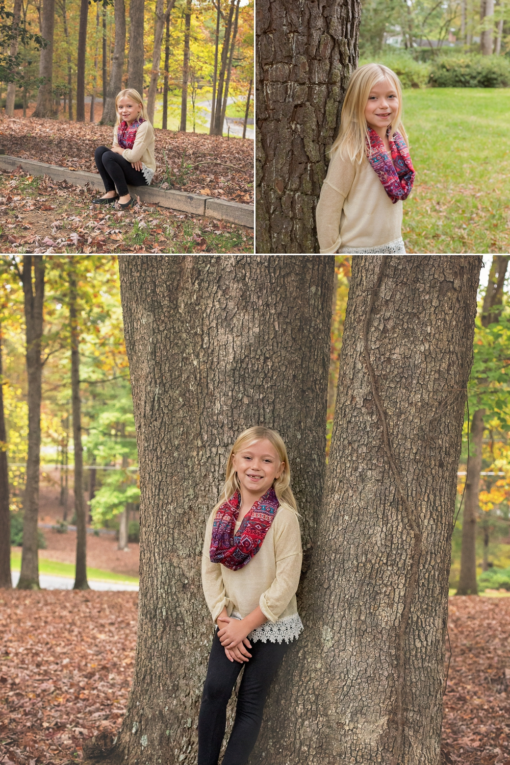 Younger sister poses with tree during Sanford family photography session.