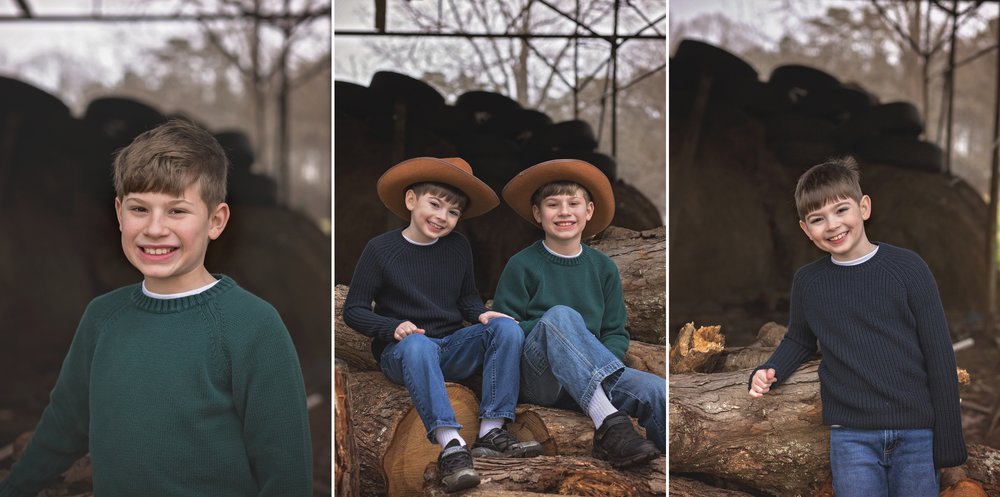 Brothers sit among fallen trees during Sanford NC family session.