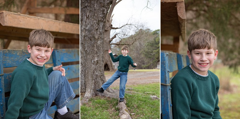 Brother stands on one foot during Sanford NC family photography session.