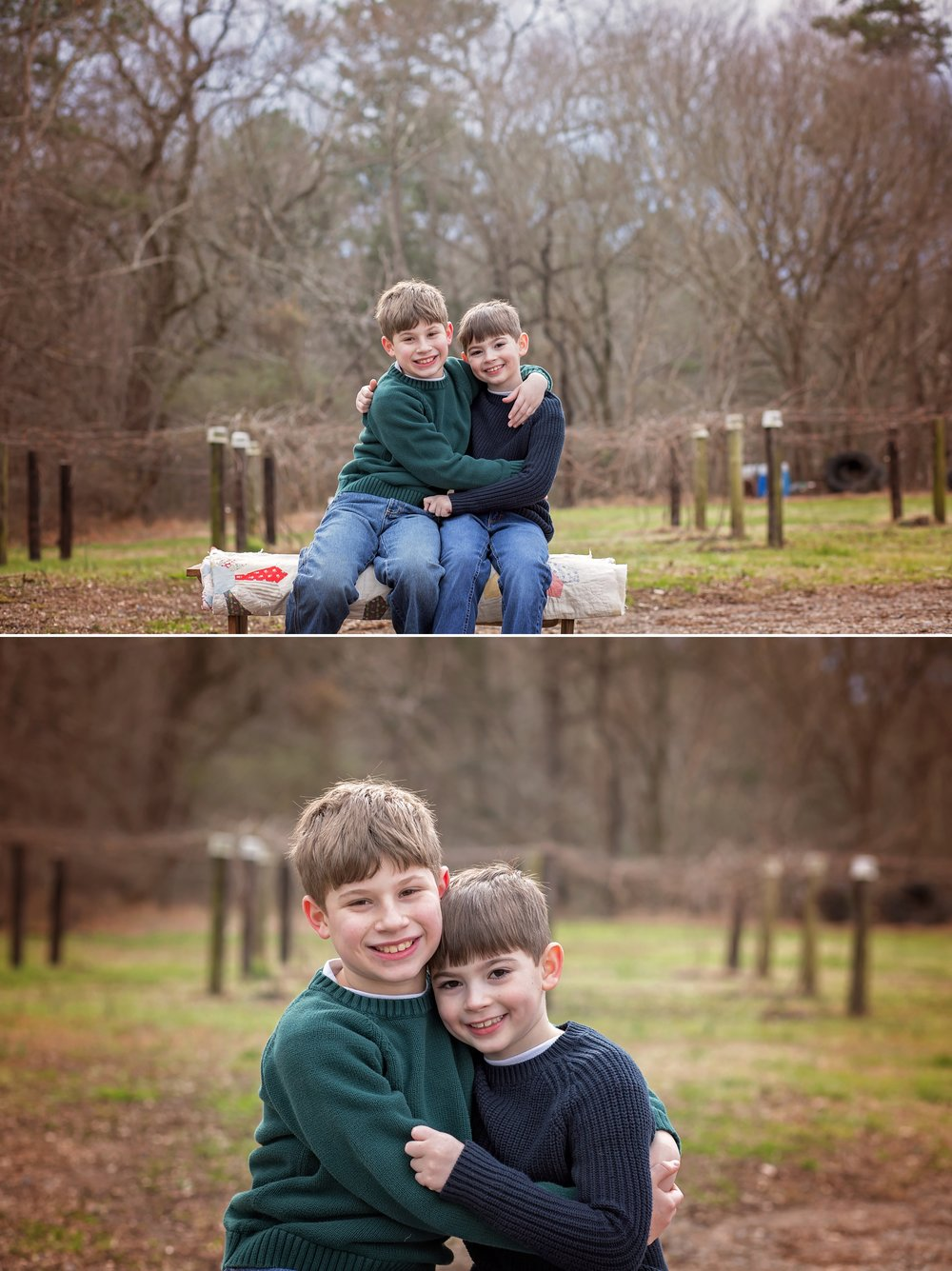 Brothers hug in field in Sanford NC.