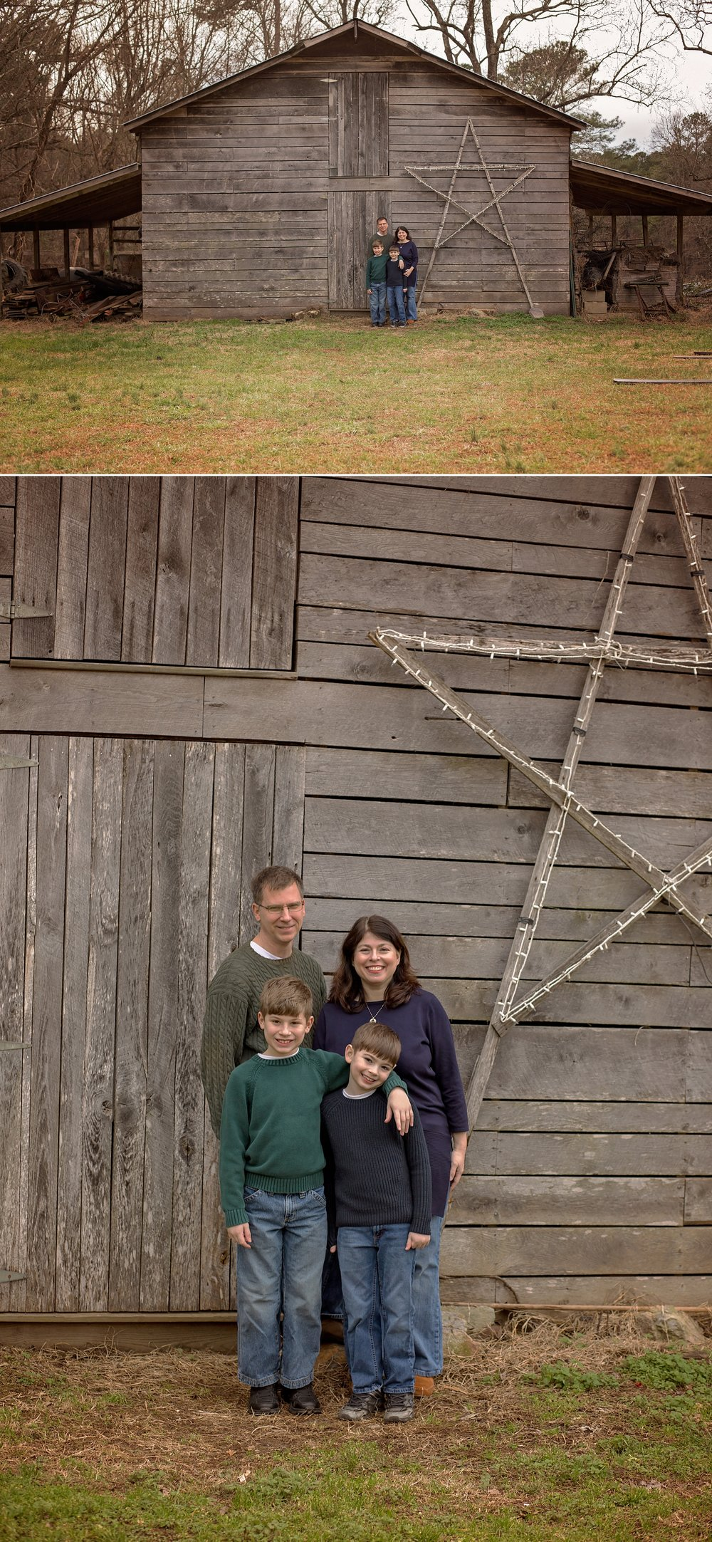 Sanford NC family gathers in front of a barn during session.