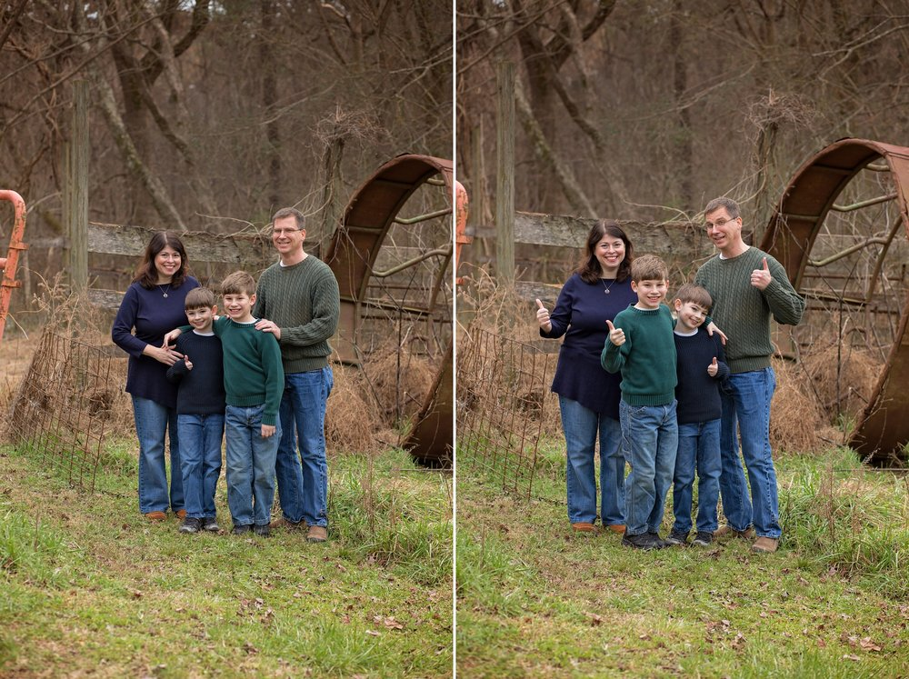 Parents and children group together for family photo in a Sanford NC field.