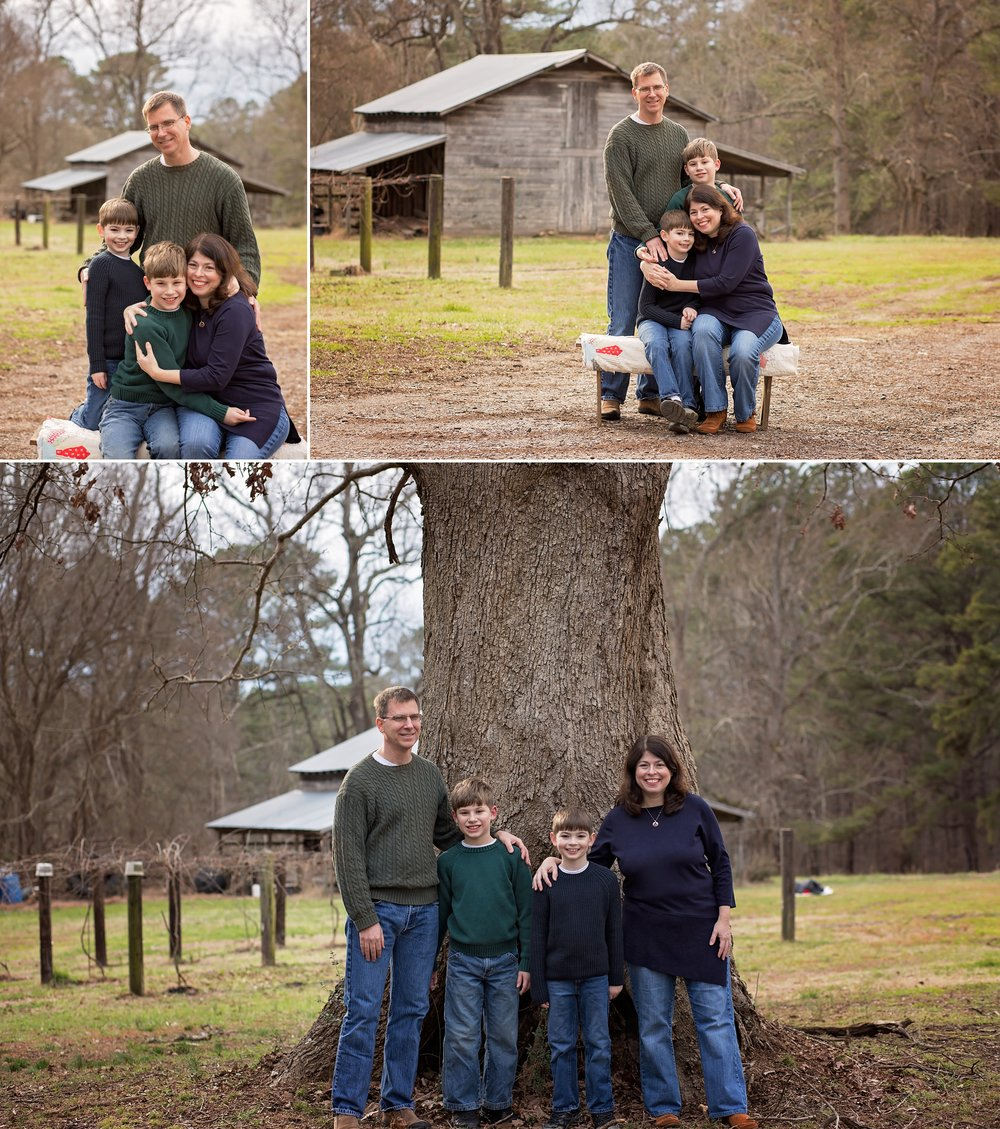 Parents hug on children during Sanford family photography session with Candace Wolfenbarger.