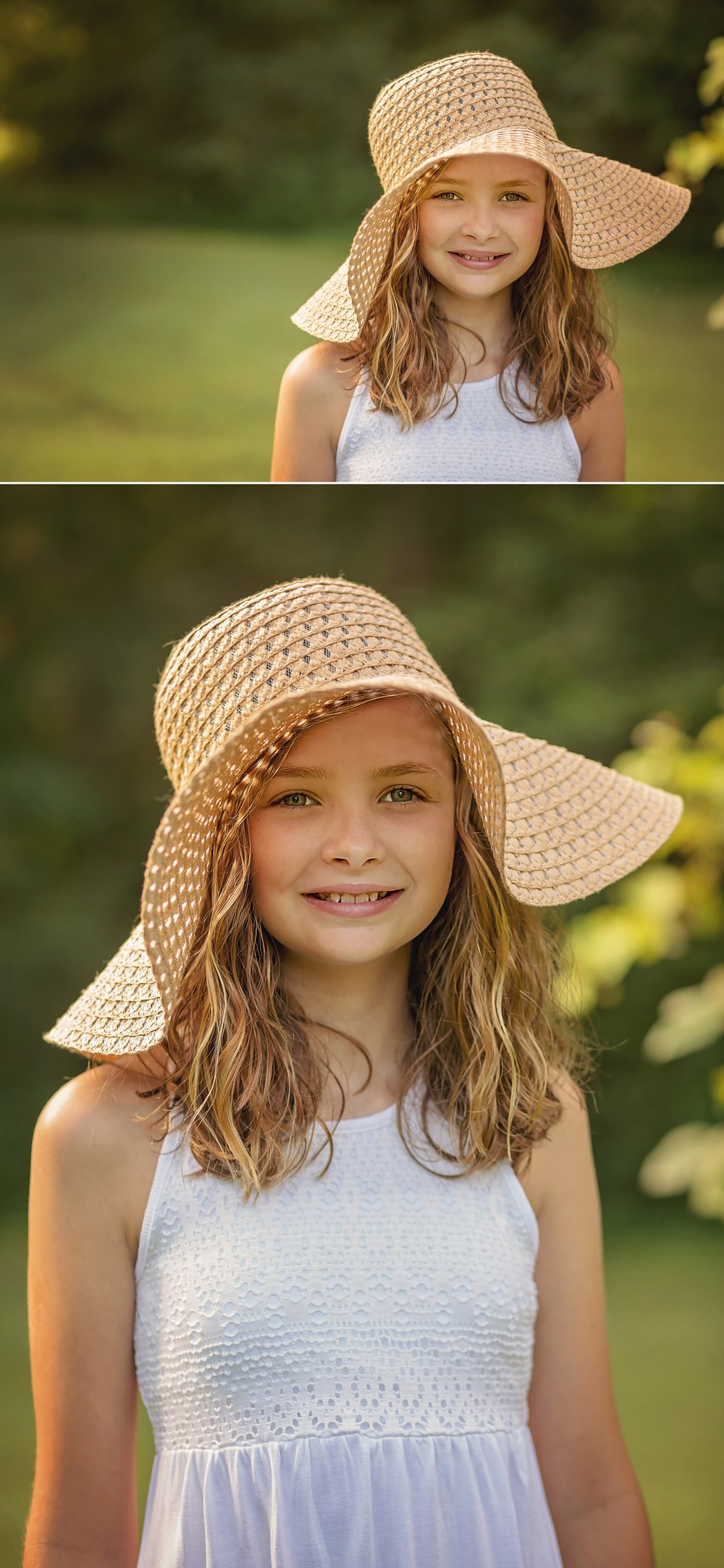 Girl wearing sunhat for Sanford photography session