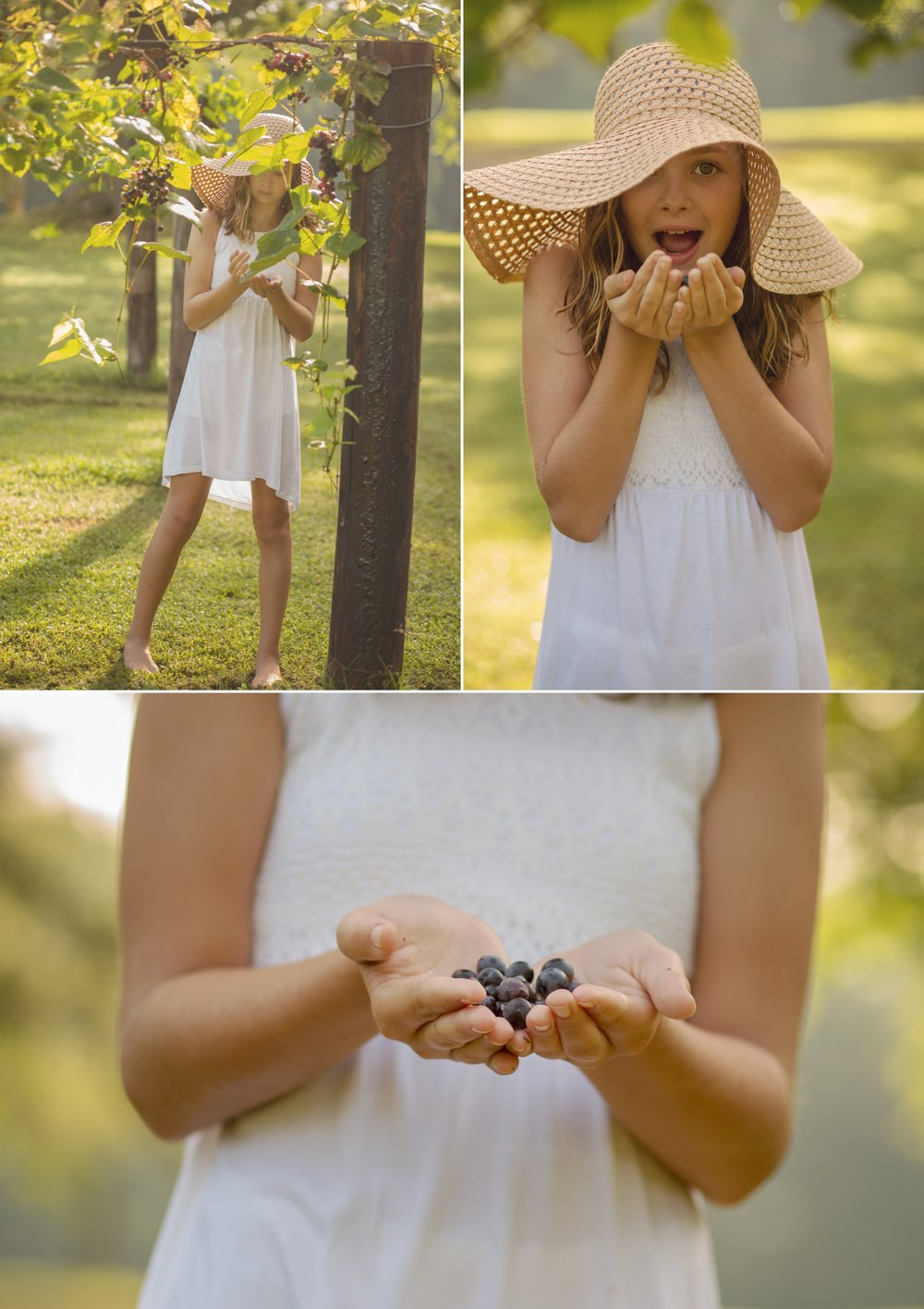Child holds grapes during Sanford area portrait photography session