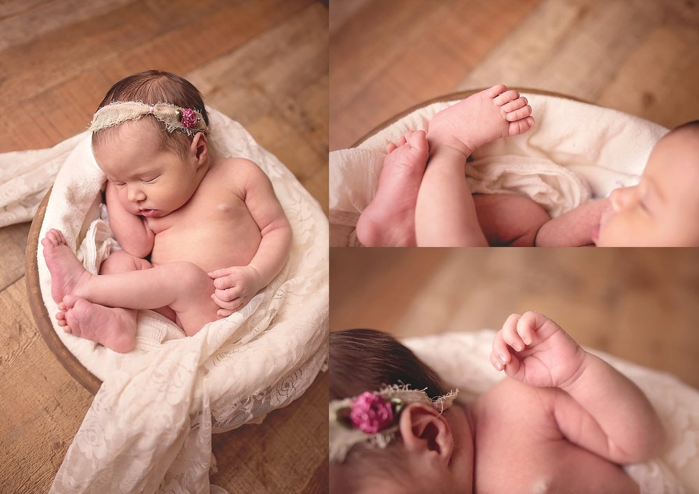 Toes and feet of newborn are photographed by studio photographer Candace Wolfenbarger in Raleigh NC.