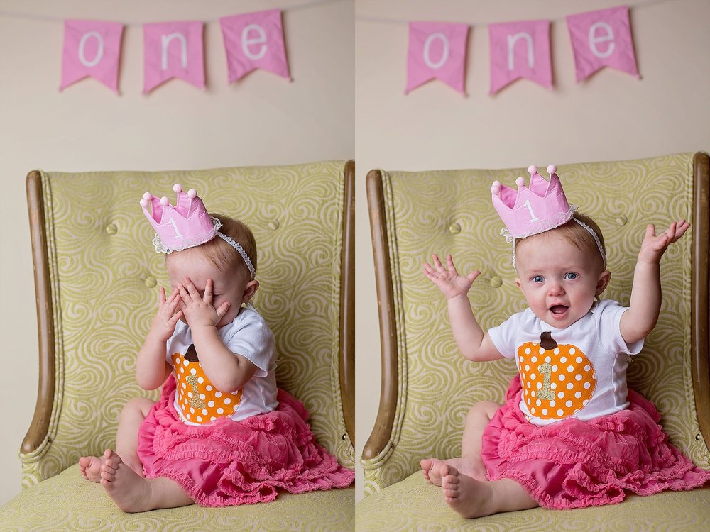 One year old baby girl plays peek-a-boo at Pinehurst NC studio photography session.