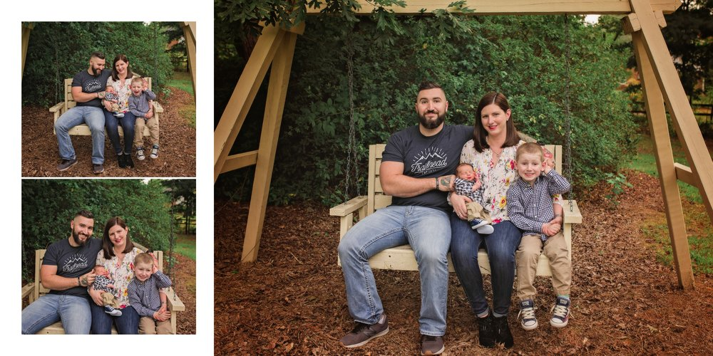 Sanford NC Photographer takes family pictures on swing