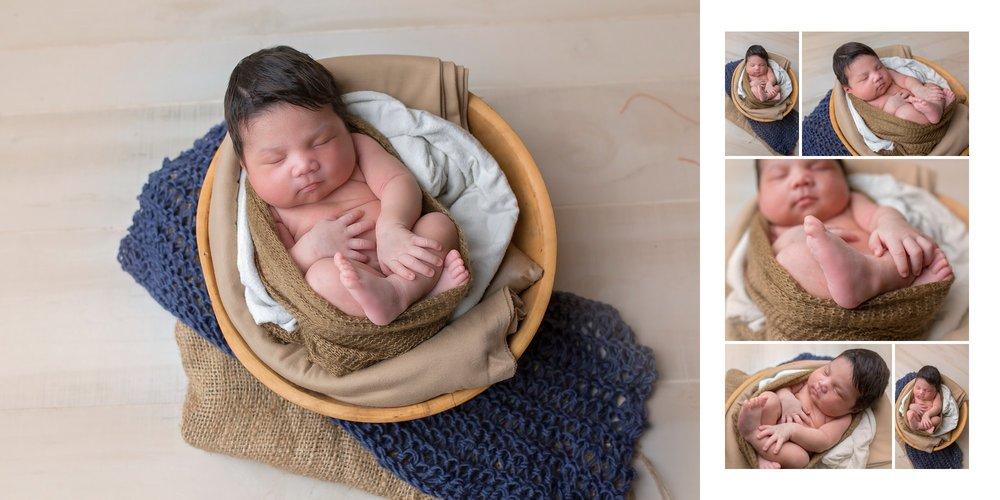Noah in Bowl | Sanford NC Newborn Photo 1