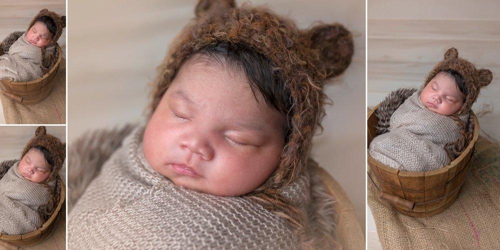 Baby in Bear Bonnet | Sanford NC Newborn Photographer
