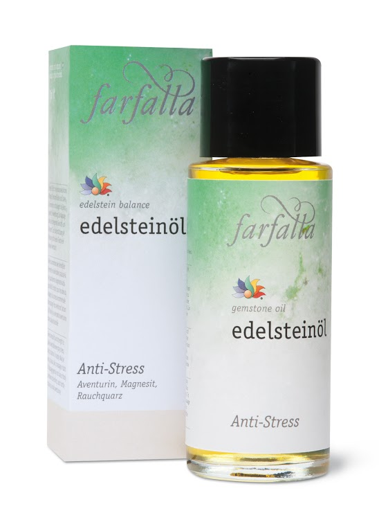 Gemstone Oil: Anti-Stress Experience inner calm! This oil promotes the tranquillity and strength needed to tackle everyday stresses, while boosting stamina. To enhance the effects, each bottle contains a small gemstone.  Gemstones used: aventurine, magnesite, cairngorm. Essential oils used: sweet orange, lavender, ylang ylang.