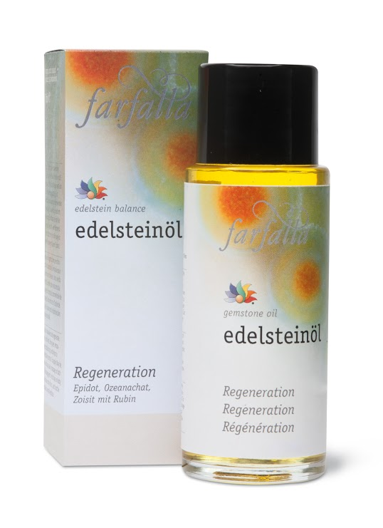 Gemstone Oil: Regeneration Re-awaken your mind and body! This oil energises, encourages and helps to re-establish control and productivity. To enhance the effects, each bottle contains a small gemstone.  Gemstones used: epidote, ocean agate, zoisite with ruby. Essential oils used: ravintsara, myrrh, litsea cubeba.