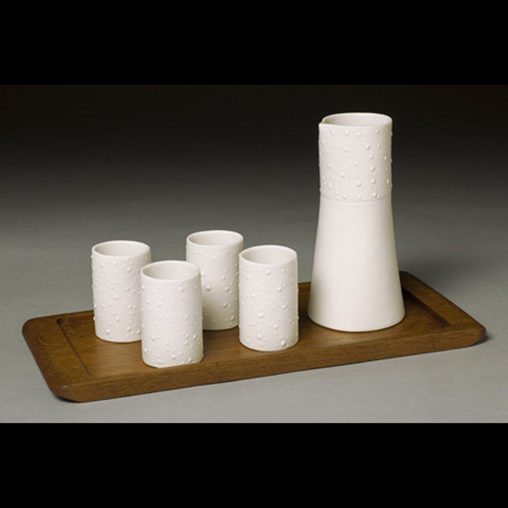 Sake Set with Vintage Wood Tray