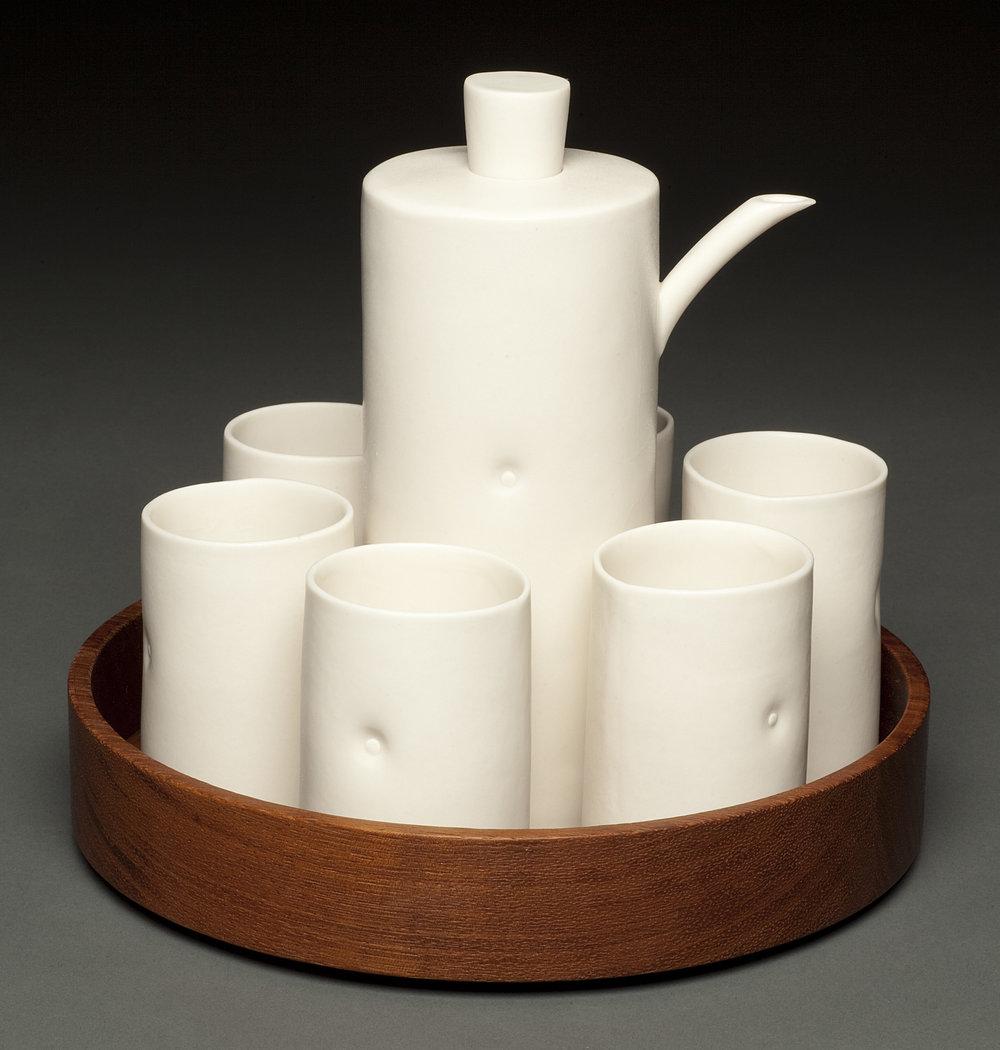 Dot Sake Set with Wood Tray