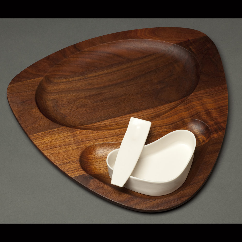 Appetizer Service with Vintage Wood Tray