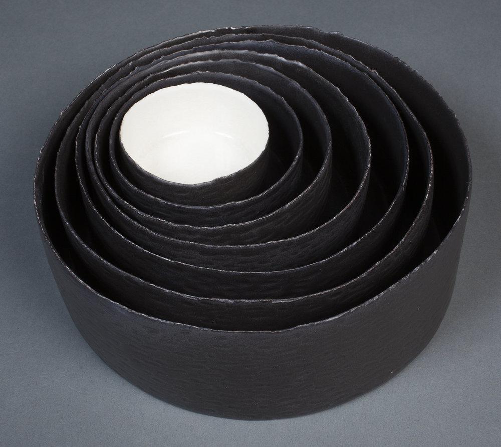 Black Torn Edge Tray Set