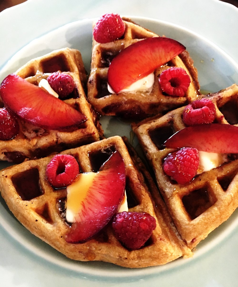 Summer Plums & Raspberry Waffles