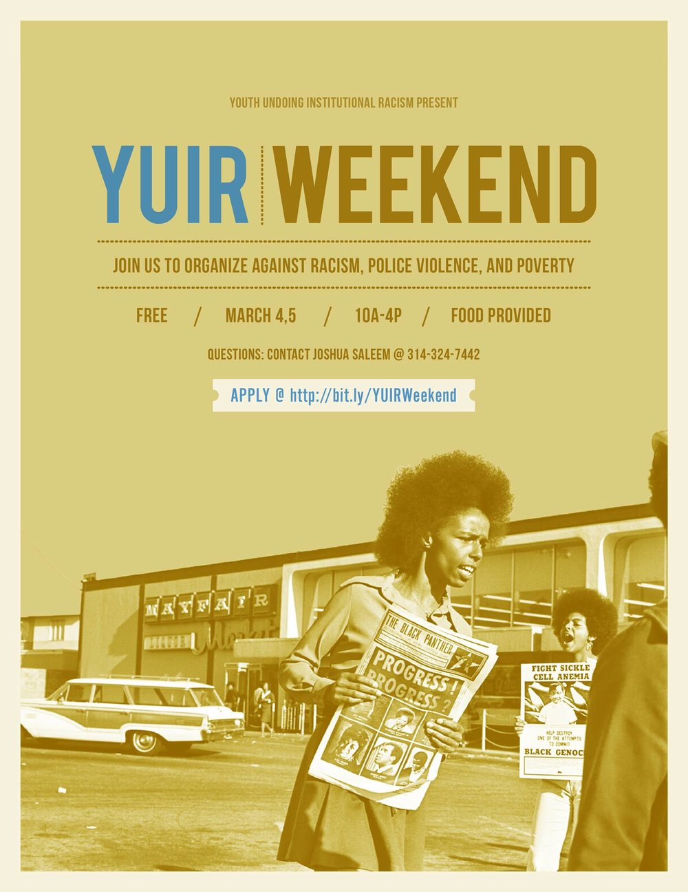 Youth Undoing Institutional Racism Weekend is a (FREE) two day workshop that focuses on analyzing oppressive systems and the social construct of race. It's geared toward youth ages 15-23, but all are welcomed. Join us to learn about and organize against systems (criminal justice, education, etc.) that work to the benefit of those who have come to be called white but often hinder people of color.