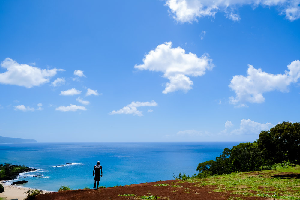 Tyler Shortt enjoying the views at Pu'u O Mahuka Heiau State Historic Site
