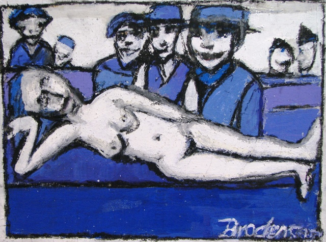 Nude and Four Men on Purple *