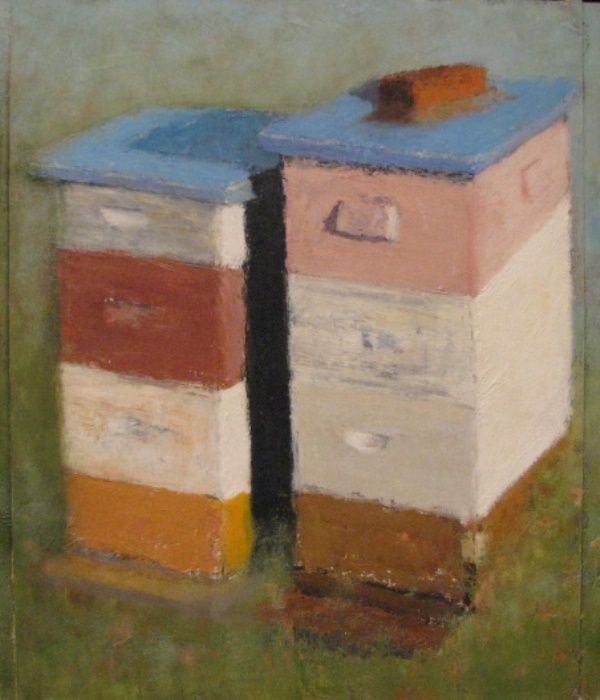 Two Beehives and a Brick