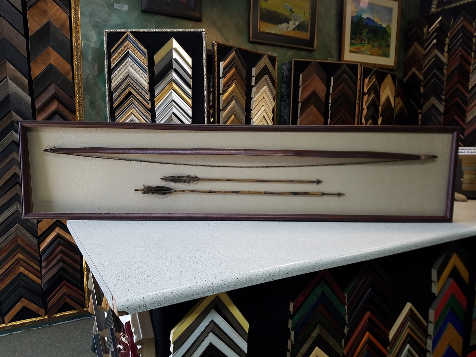 1800's Bow and Arrow Shadow Box, Museum Quality Preservation
