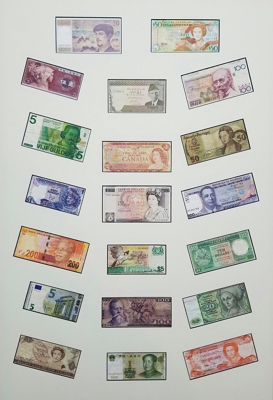 Matted currency from around the World
