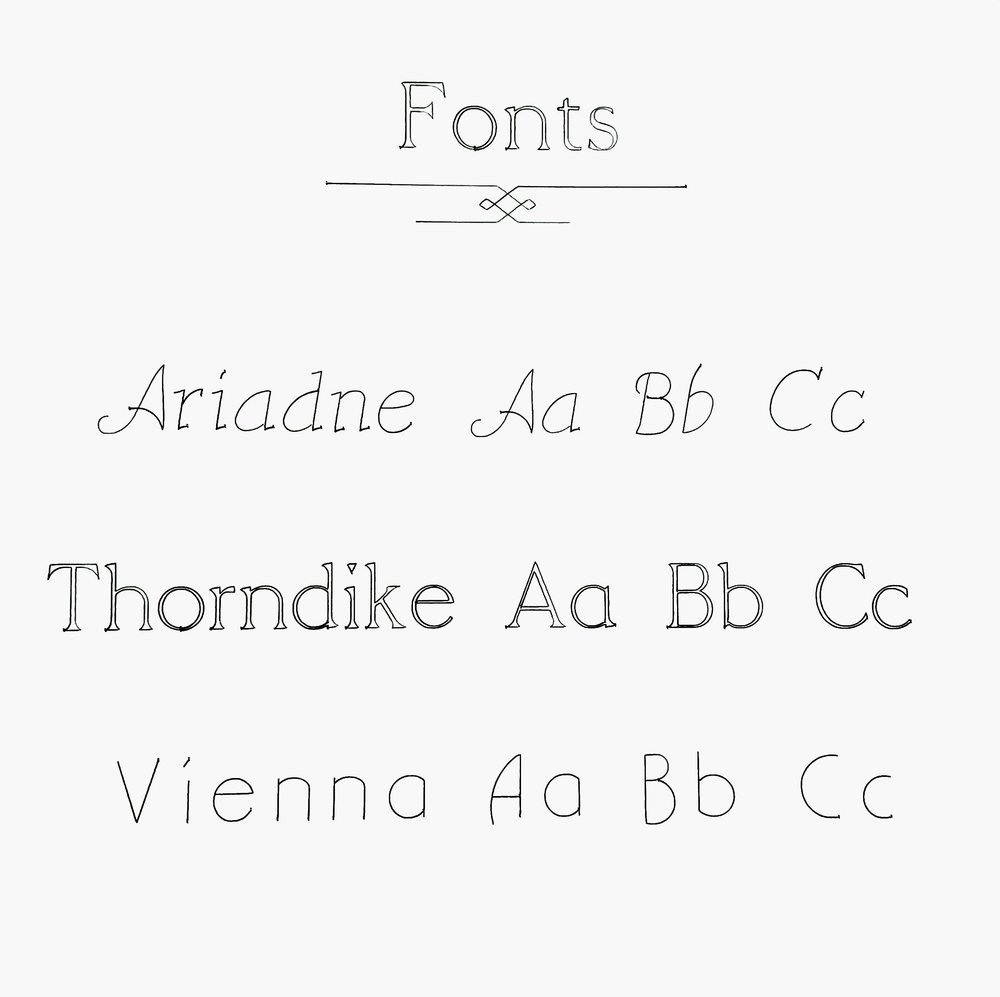 A choice of our 3 fonts we offer.
