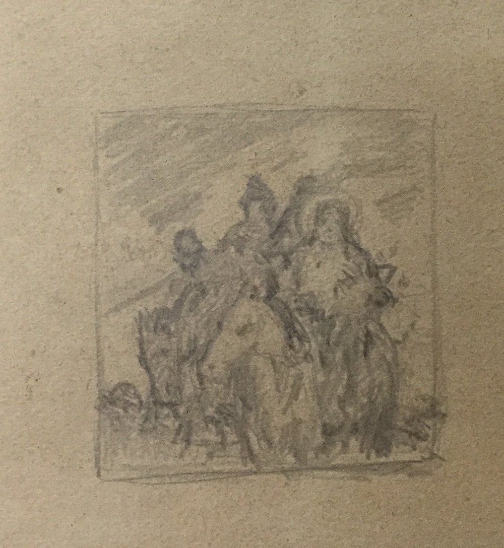 "Sketch on back of ""Rider on Wild Horse"" *"