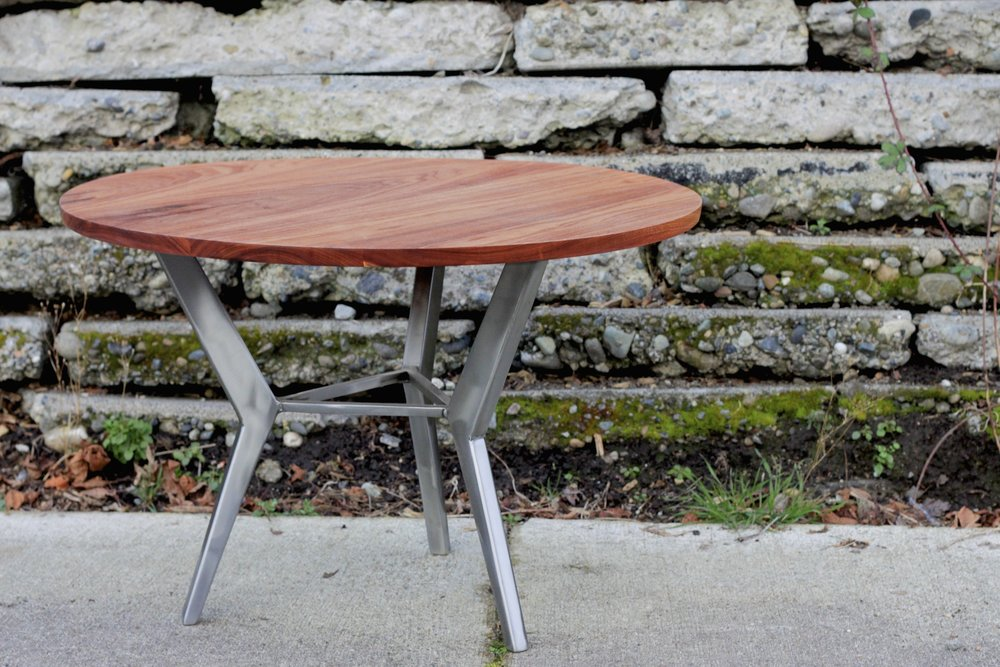 3-Legged Steel Base Table,  Cherry