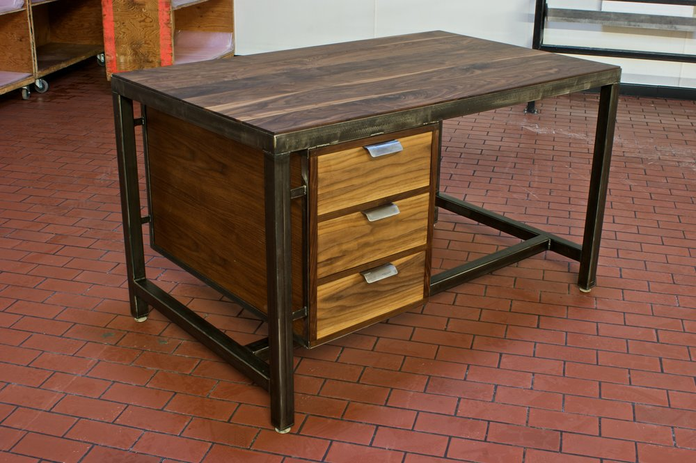 Steel frame Architect's Desk,  Walnut