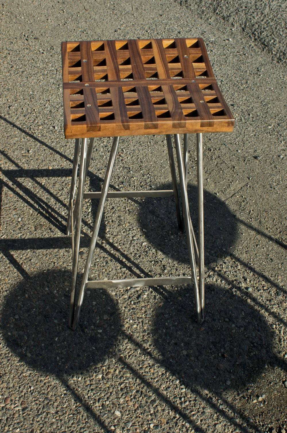 Lattice Stool,  Walnut