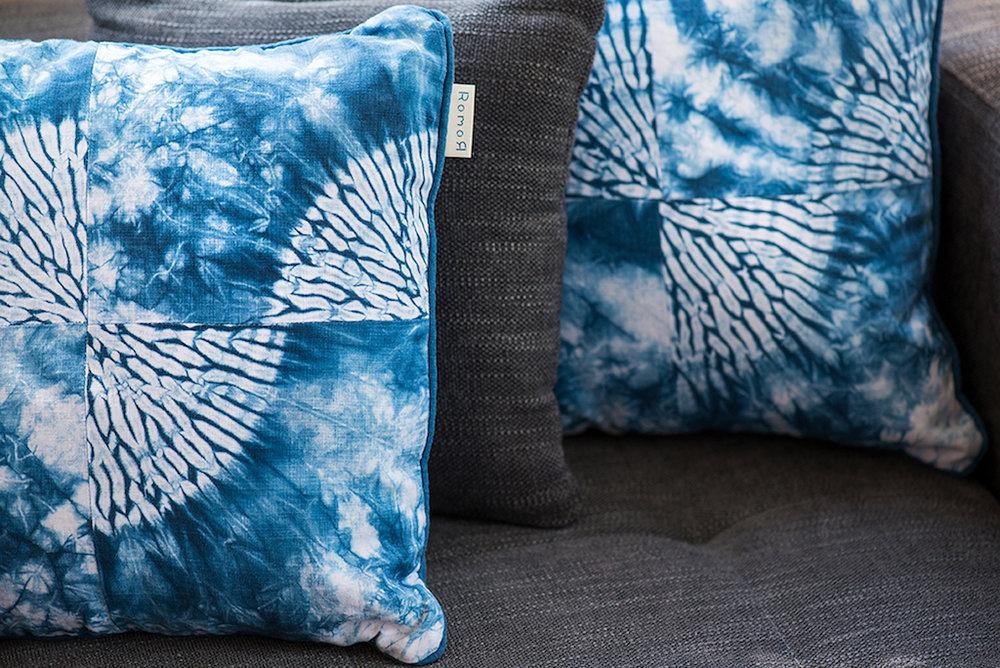 Romor Designs Shibori broken karamatsu indigo cushions.jpg
