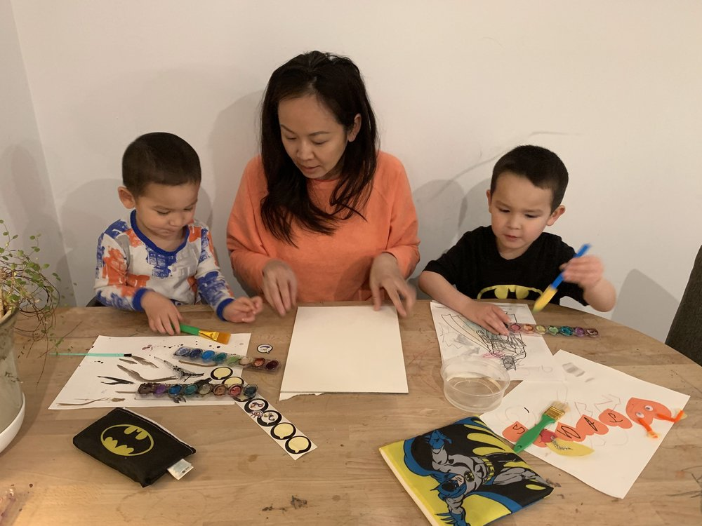 Alyce and her boys are using their set of  Bumkins DC Comics Reusable Snack Bags  for family arts, crafts and snacks.