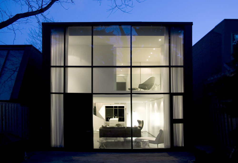 Copy of Russell Hill Road - Exterior Glass Wall Dusk Light Rear Facade