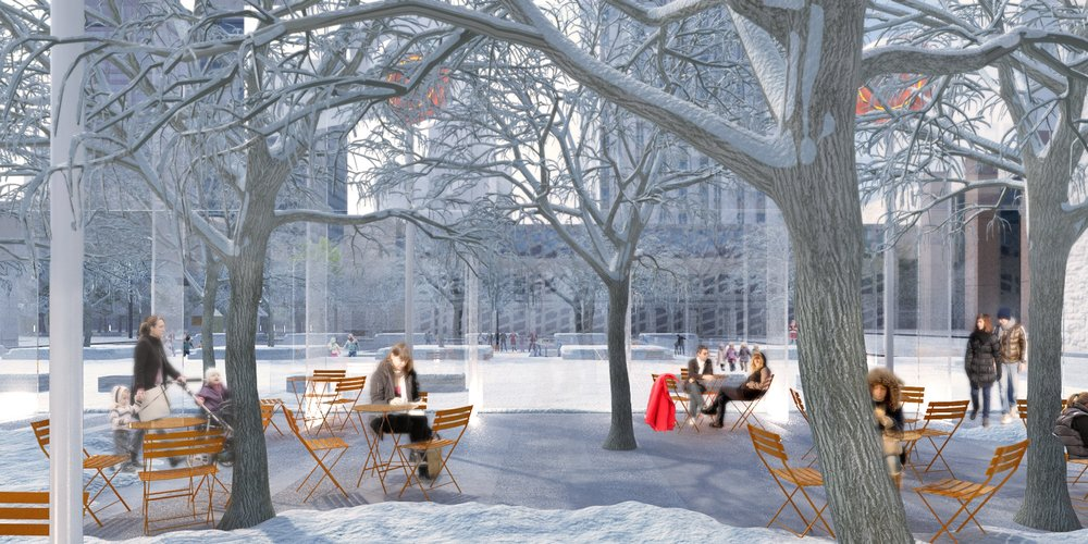 Edmonton Civic Precinct - winter dining outdoor plaza