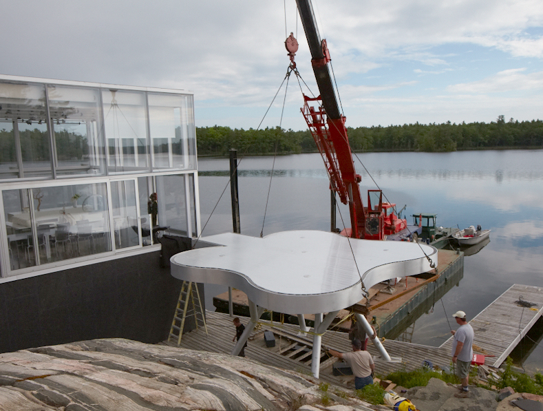 Glass Boat House - metal deck on site installation, fabrication,