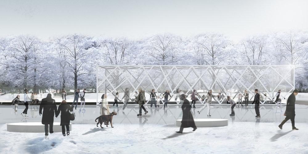 Thompson Hotel Pavilion - winter render, ice skating