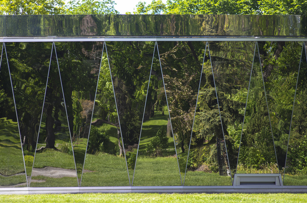 Borden Park Pavilion - mirrored glass facade elevation detail