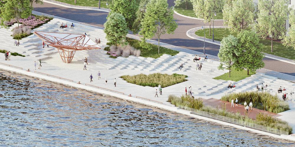 Pier 8 Promenade Park - steel pavilion, marsh aerial, beach sand