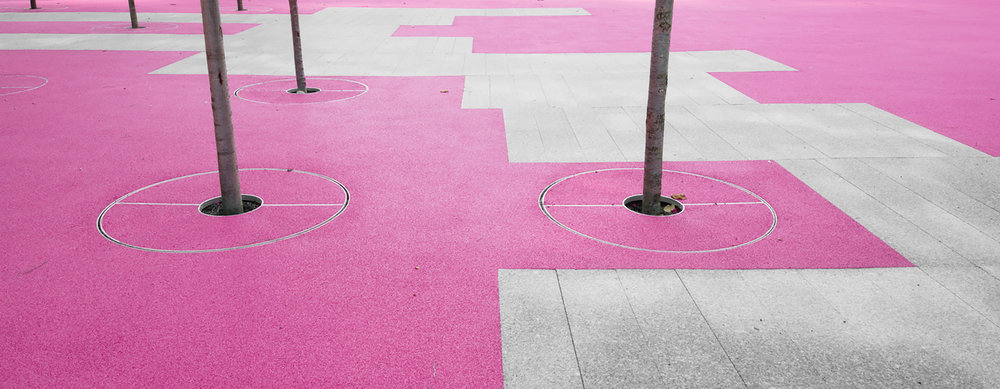 June Callwood Park - pink elastomeric TPV and granite paving