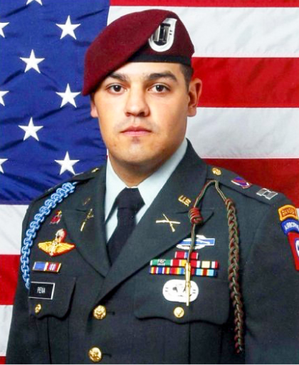 Army Captain Paul Pena, 27, of San Marcos, Texas, died on Jan. 19, 2010, from wounds sustained from an enemy force's improvised explosive device. Pena was leading a patrol in Arghandab River Valley in Afghanistan at the time of his death. He was assigned to the 2nd Battalion, 508th Parachute Regiment, 4th Brigade Combat Team, 82nd Airborne Division in Fort Bragg, North Carolina.  Pena participated in the Junior ROTC program at San Marcos Baptist Academy and later graduated from the U.S. Military Academy at West Point. He maintained his fitness with CrossFit workouts and particularly enjoyed running, burpees, push-ups and pull-ups.  He is survived by his mother, Cecilia.