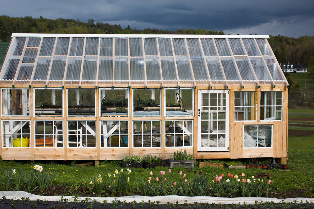 Stitchdown Farm glass greenhouse recycled windows