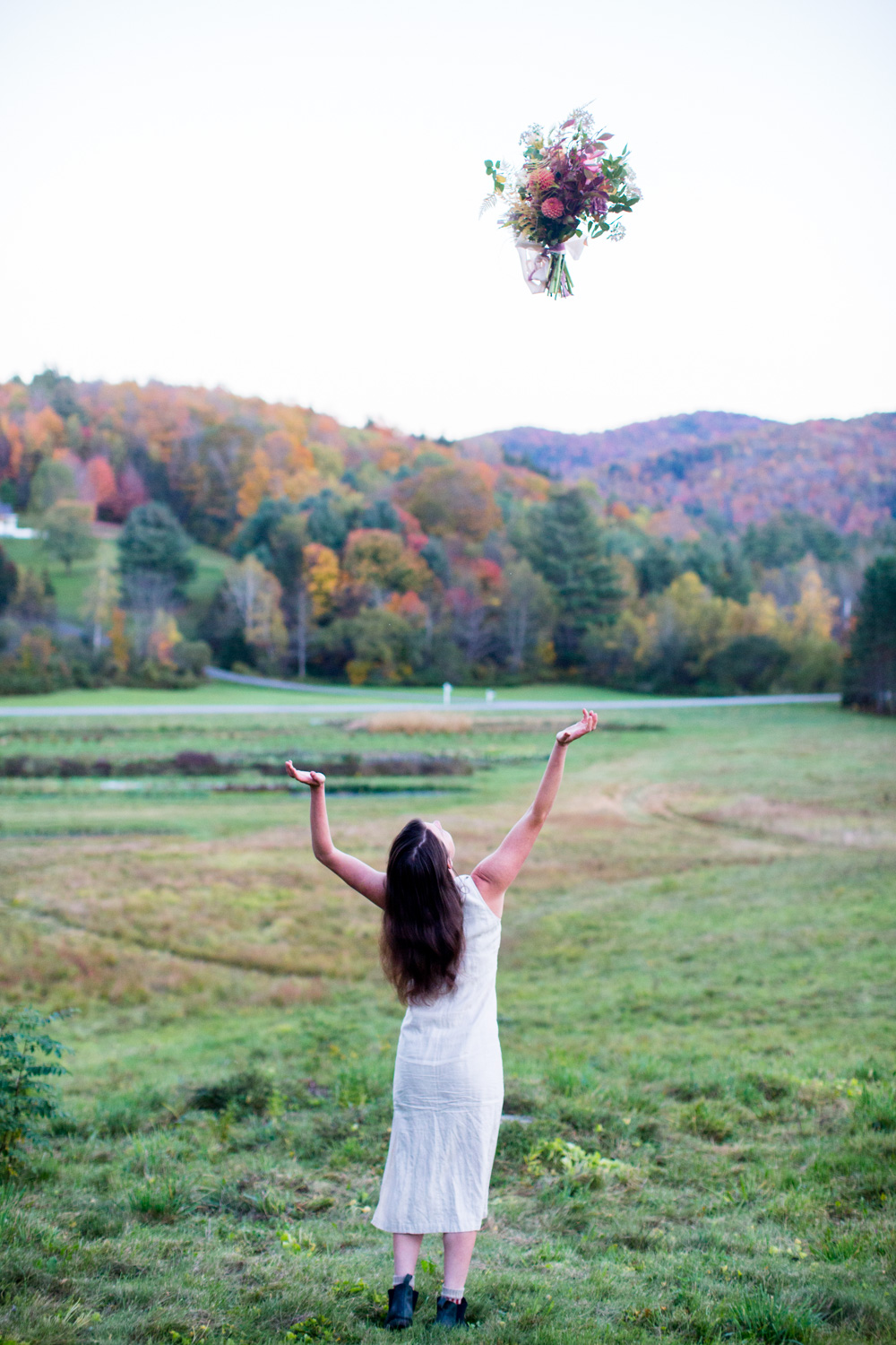 Stitchdown Farm Vermont Wedding Bouquet Toss