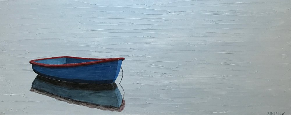 BOAT ON BLUE