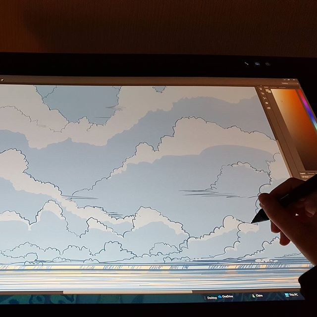 Drawing the easy panels of my #comic to start with. This month is crunch time. #deadline #illustration #illustrator #art #freelance #freelancer #workit #clouds #cloudscape #stoorworm