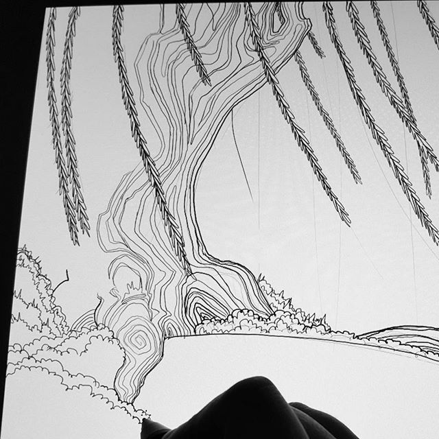 Drawing a big #comic panel, having fun drawing this tree in particular . Leaving the rest of it to finish in the morning as a treat. Like saving cake for later. #nolife #sad #drawing #illustration #freelance #freelancer #art #photoshop #wacom #tablet #lines #linework #goodnight