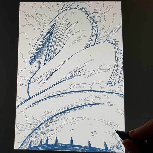 "Super rough sketch for my #comic. Trying to draw an ""unspeakably huge sea serpent"" is proving a challenge, and I don't know if this picture makes any sense to people, but I'm having fun experimenting. #sketching #sketch #digitalart #digital #drawing #art #illustration #illustrator #freelance #freelancer #messy #huge #seaserpent #serpent #stoorworm #norse #folkstory"